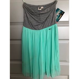 Roxy Mint and Gray Strapless Dress- NWT- Size S